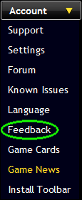 Feedback link in in-game drop-down menu