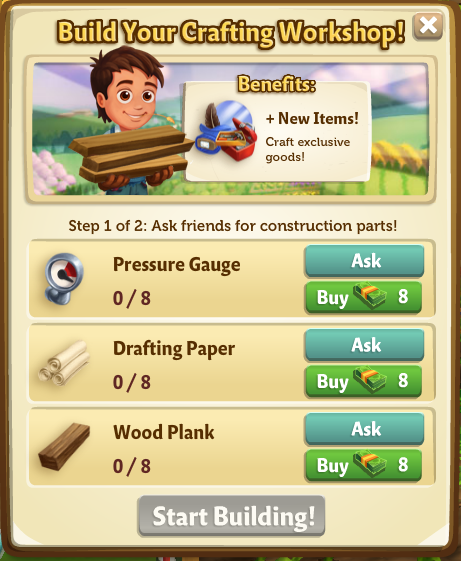 Crafting Workshop - Start Building Menu