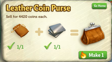 Crafting Workshop - Leather Coin Purse - FarmVille 2
