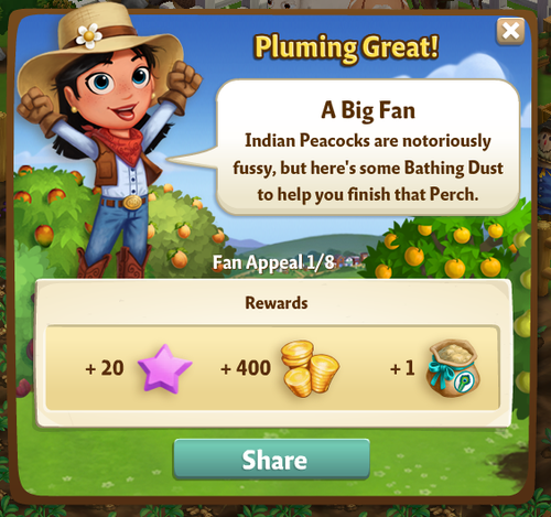 Peacock - Bathing Dust Reward - FarmVille 2