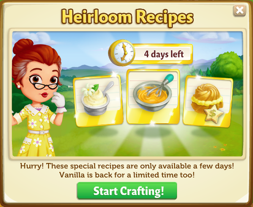 Heirloom Recipes - FarmVille 2