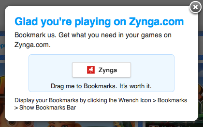 Drag me to Bookmarks - Zynga.com