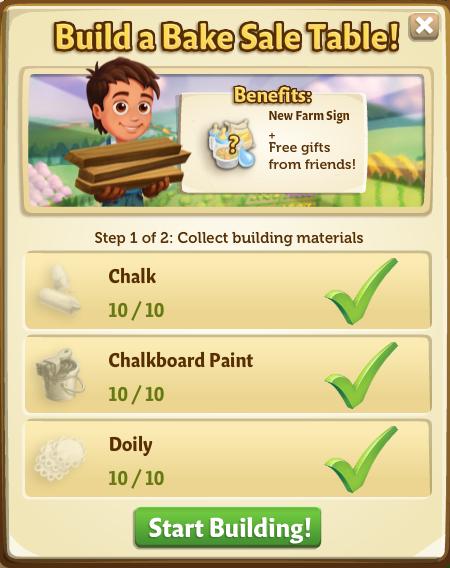 Bake Sale - Start Build