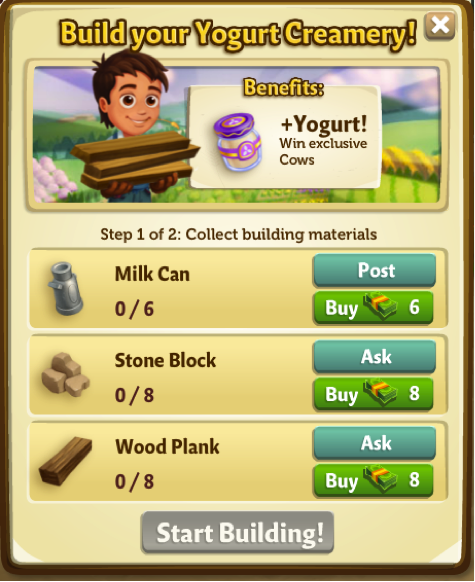 Yogurt Creamery - Materials - FarmVille 2