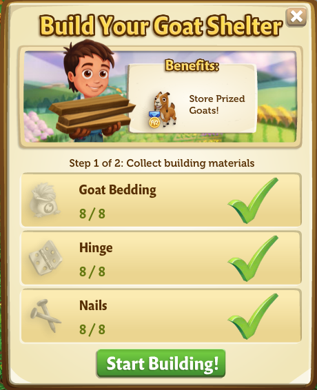 Goat Shelter - Start Build - FarmVille 2