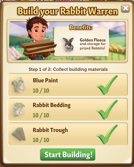 Rabbit Warren - Start Build