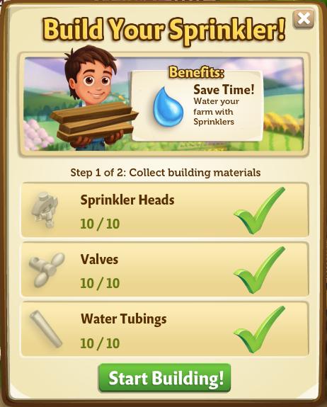 Sprinklers - Start Build