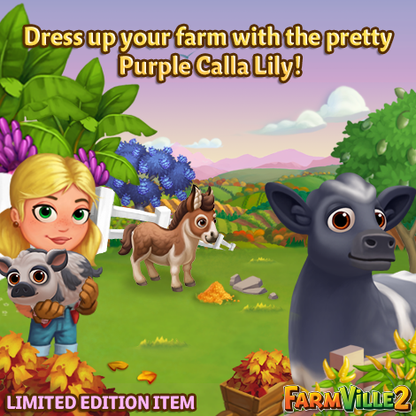 Dress up your farm with the pretty Purple Calla Lily LE - FarmVille 2