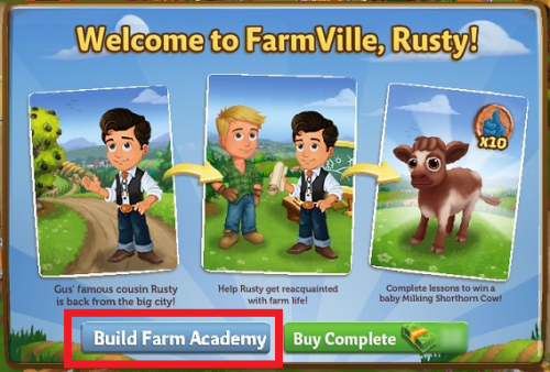 Welcome to FarmVille, Rusty!  - FarmVille 2