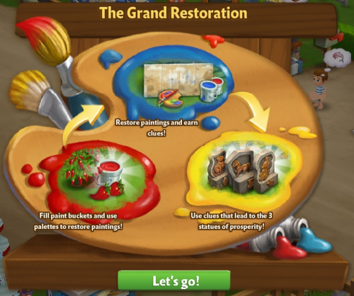 the painting canvas will then be automatically placed outside your farm click on it to learn more about the restoration project - Painting Games 2