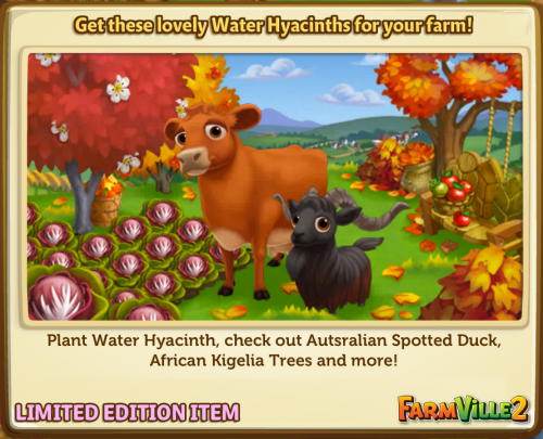 Get these lovely Water Hyacinths for your farm! LE - FarmVille 2