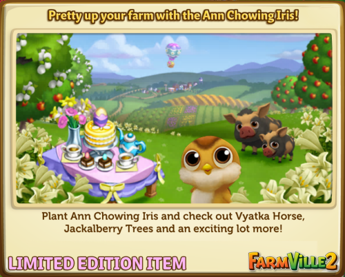 Pretty up your farm with the Ann Chowing Iris LE - FarmVille 2